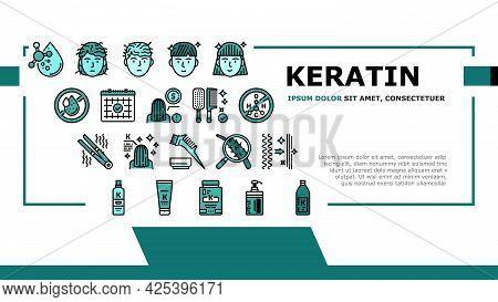 Keratin Hair Procedure Landing Header Vector. Keratin Cosmetic And Cream, Shampoo And Oil, Comb And