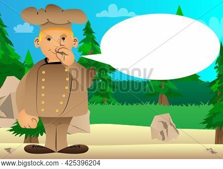 Fat Male Cartoon Chef In Uniform With Sympathy. Vector Illustration. Cook With Figner On His Nose.
