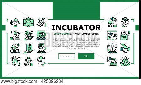 Business Incubator Landing Header Vector. Incubator Education Resource And Training, Marketing Assis