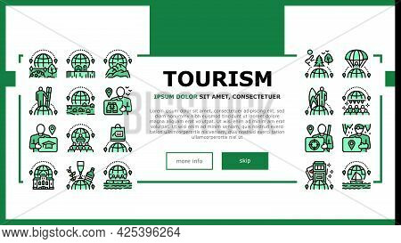 Tourism Travel Types Landing Header Vector. Cultural And Nature, Air And Ski Sport, Yacht And Raftin