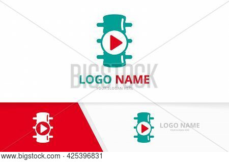Spine And Button Play Logo Combination. Vertebral Column And Record Logotype Design Template.