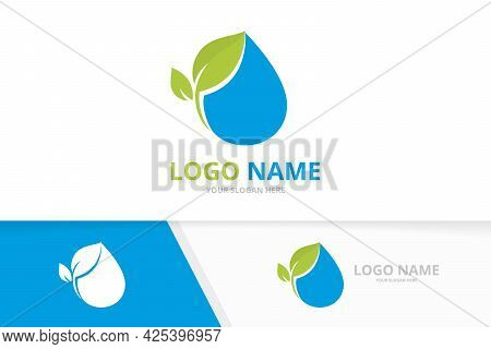 Fresh Water Drop And Leaves Logo. Pure Waterdrop Logotype Design Template.
