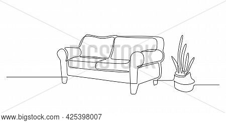 One Continuous Line Drawing Of Interior With Sofa And Cactus Plant. Modern Home Furniture For Stylis