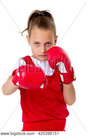 Sporty Teenage Girl Boxer. Close Up Portrait Of Pretty Girl In Red Sports Uniform And Boxer Gloves D