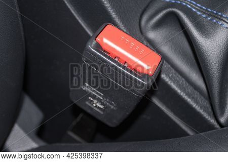 Close Up Car Safety Belt For Car Device For Safety First For Travel