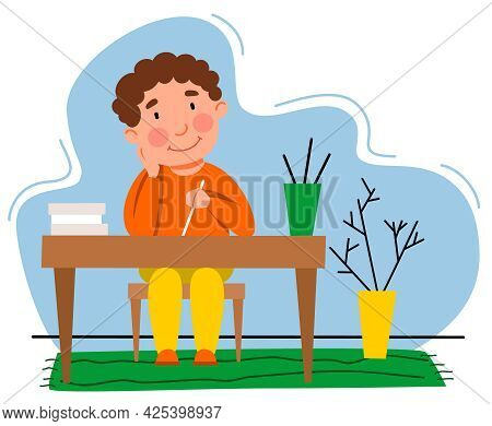 A Little Boy Is Doing His Homework. The Child Writes At The Table. Vector Illustration In A Flat Sty