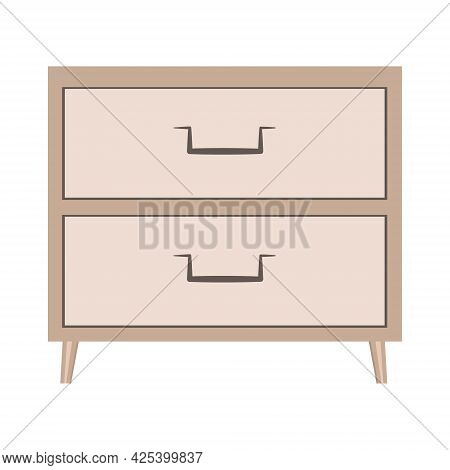 Nightstand With Drawers. Wooden Bedside Table In Flat Design For Bedroom Interior. Wooden Brown Furn