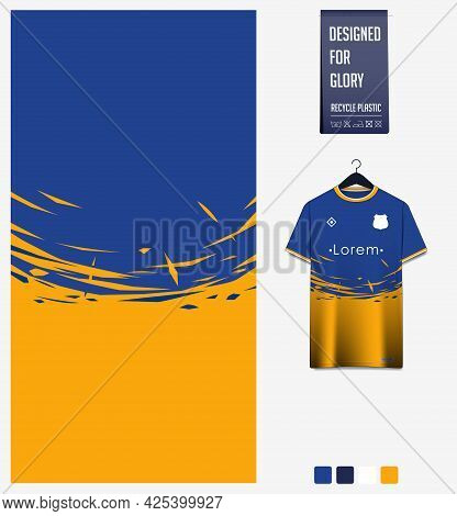 Soccer Jersey Pattern Design. Abstract Pattern On Yellow Blue Background For Soccer Kit, Football Ki