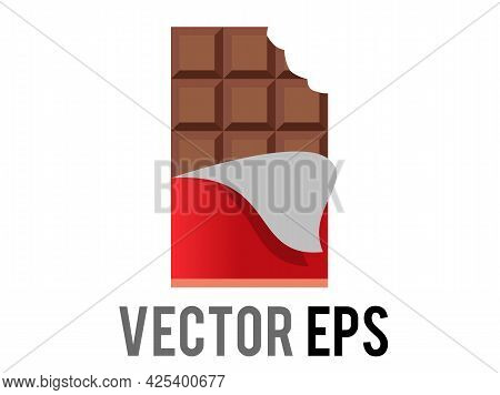 The Isolated Vector Brown Block Of Dark Chocolate Bar Icon With Red Foil Wrapper Peeled Back To Show