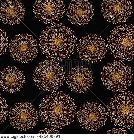 Gold Mandala On A Black Background Symmetrical Like A Flower Or A Star In The Sky, Oriental Pattern,