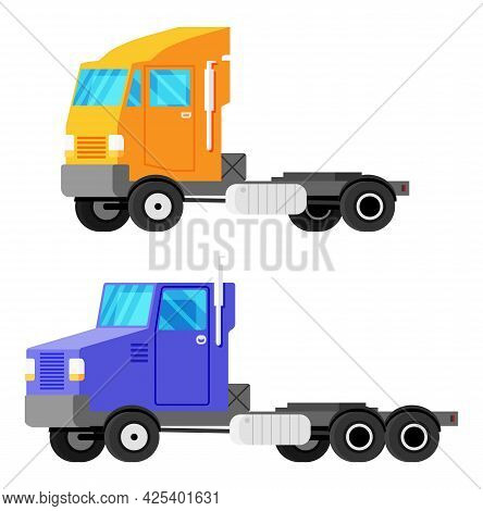 Large Empty Truck Tractor Trailer. European And American Versions. Vehicle Children Toy Icon. Truck