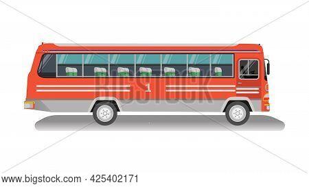 Vintage Thai Bus With Isolated White Background.old Omnibus Thai.thai Bus Vector.classic Public Car