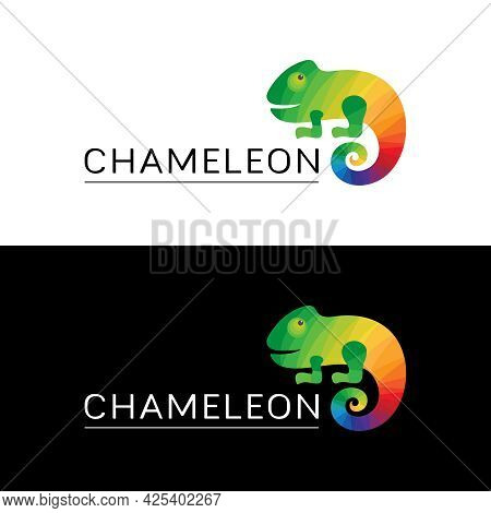 Logo Multicolored Chameleon. Icon, Sign, Trademark With A Bright Reptile And The Word Chameleon On A