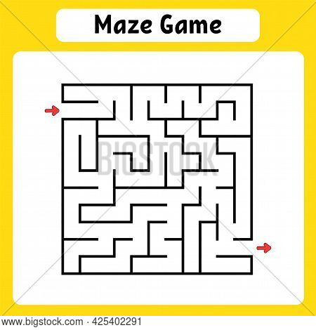 Square Maze. Game For Kids. Puzzle For Children. Labyrinth Conundrum. Vector Illustration. Find The
