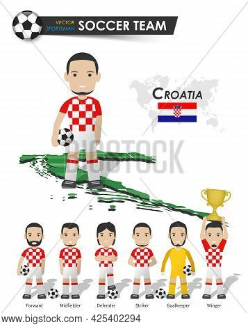 Croatia National Soccer Cup Team . Football Player With Sports Jersey Stand On Perspective Field Cou