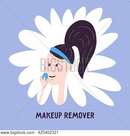 Woman Removes Makeup Icon Isolated On Background. Vector Illustration About Removing Cosmetics In Ca