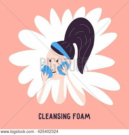 Woman Washing Face Icon With Cleansing Foam Isolated On Background. Vector Illustration About Double