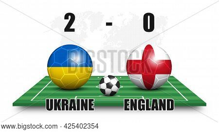 Ukraine Vs England . Soccer Ball With National Flag Pattern On Perspective Football Field . Dots Wor