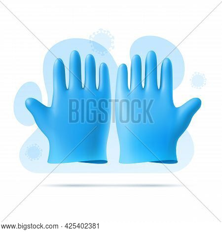 Blue Rubber Sterile Medical, Surgical Gloves. 3d Vector Template On Background Of Abstract Shapes An
