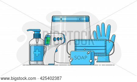 Vector Set Of Personal Protective Equipment In Flat Style. Respiratory Mask, Face Shield, Disinfecta