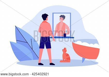 Smiling Man Looking In Mirror In Bathroom. Male Character Getting Ready For Bath, Foamy Bathtub, Cat