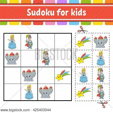 Sudoku For Kids. Fairytale Theme. Education Developing Worksheet. Activity Page With Pictures. Puzzl