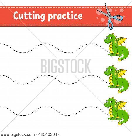 Cutting Practice For Kids. Fairytale Theme. Education Developing Worksheet. Activity Page. Color Gam
