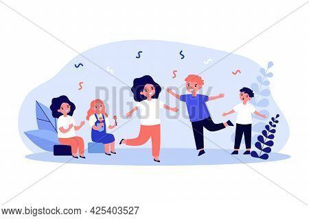 Adorable Cartoon Children Dancing. Girl Playing Maracas, Boy Singing, Kid Clapping Flat Vector Illus