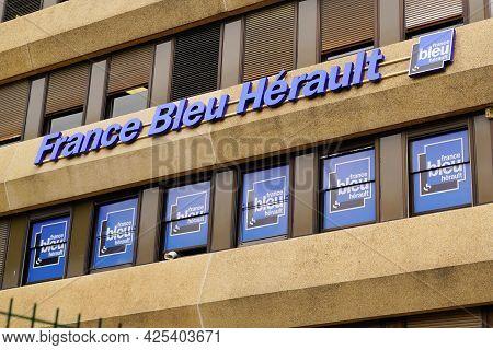 Montpellier , Ocitanie France  - 06 25 2021 : France Bleu Herault Logo Text Locale Radio Sign Brand