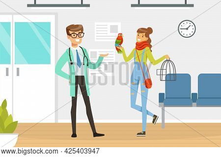 Woman Pet Owner With Parrot Bird In Cage Visiting Veterinary Clinic Vector Illustration