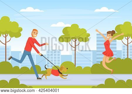 Laughing Man Pet Owner Running With His Dog Meeting His Girlfriend Vector Illustration