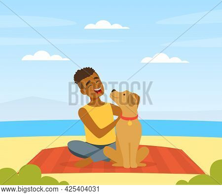 Laughing Man Pet Owner With His Dog Sitting On Beach Sunbathing Vector Illustration