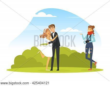 Woman Photographer Shooting Bridal Couple With Professional Camera In The Park Vector Illustration