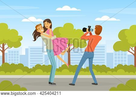Man Photographer Shooting Romantic Couple With Professional Camera In The Park Vector Illustration
