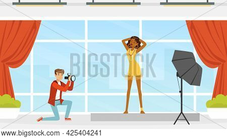 Woman In Dress Posing In Front Of Man Photographer With Professional Camera Vector Illustration