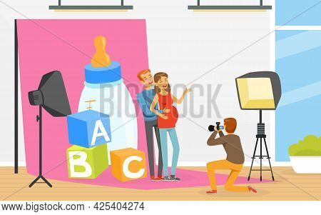 Man With Pregnant Woman Posing In Front Of Photographer With Professional Camera Vector Illustration