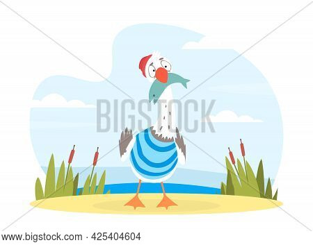 Funny Seagull Character With Fish In Bill Standing On Sea Shore Vector Illustration