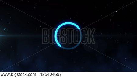Image of glowing loading circle digital interface. global technology, communication and digital interface concept digitally generated image.