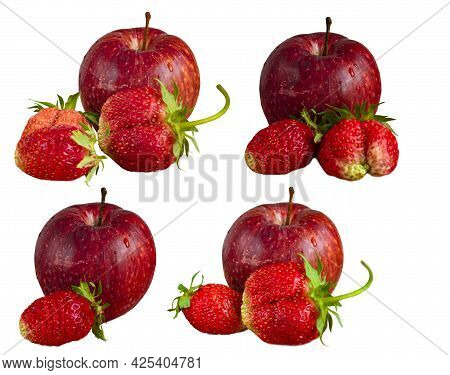 Several Variants Of Isolates Of Red Gala Apple And Garden Strawberry On White Background. Isolated F