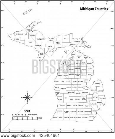 Michigan State Outline Administrative And Political Vector Map In Black And White