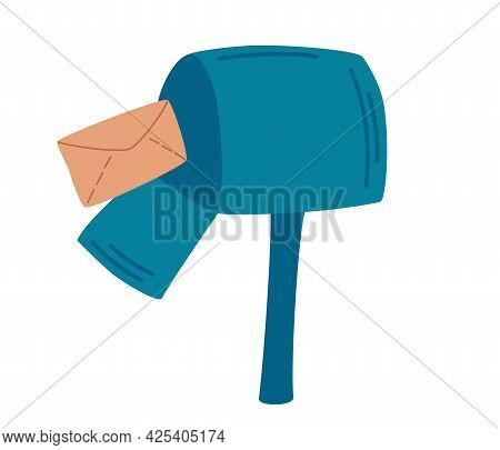 Mailbox With A Letter. Post Office Box. Sending Emails The Concept Of Mail. Vector Illustration Isol