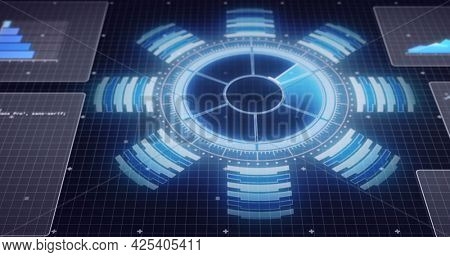 Image of scope scanning and data processing on screens over grid on blue background. global network of connections and technology concept digitally generated image.