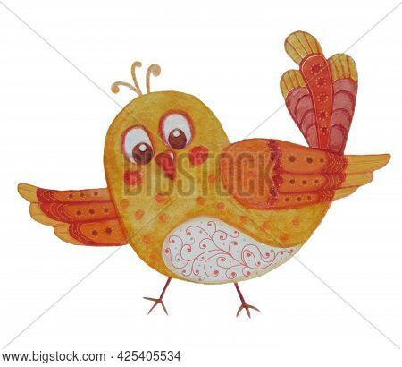 Yellow Cute Bird. Watercolor. Drawing Of A Decorative Funny Nestling. Character For Postcards, Decor