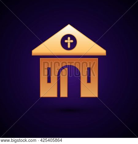 Gold Church Building Icon Isolated On Black Background. Christian Church. Religion Of Church. Vector