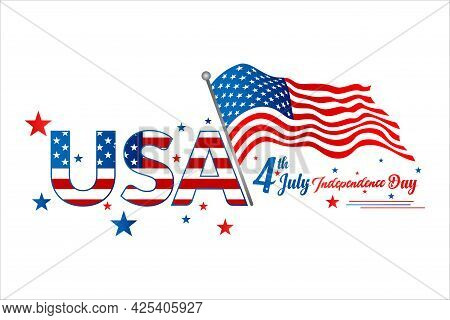 United States Of America 4th Of July, Independence Day Vintage Logo Badge Illustration. Calligraphic