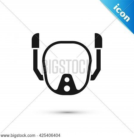 Grey Diving Mask Icon Isolated On White Background. Extreme Sport. Diving Underwater Equipment. Vect