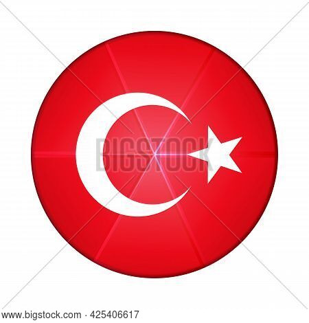 Glass Light Ball With Flag Of Turkey. Round Sphere, Template Icon. Turkish National Symbol. Glossy R