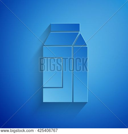 Paper Cut Paper Package For Milk Icon Isolated On Blue Background. Milk Packet Sign. Paper Art Style