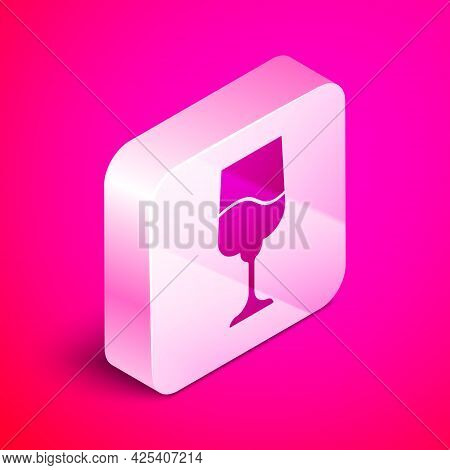 Isometric Jewish Goblet Icon Isolated On Pink Background. Jewish Wine Cup For Kiddush. Kiddush Cup F