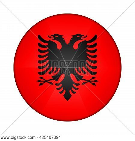 Glass Light Ball With Flag Of Albania. Round Sphere, Template Icon. Albanian National Symbol. Glossy